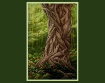 """Original 24x36"""" Oil Painting - Huge Giant Gnarly Braided Tree Wall Art"""