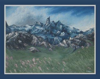 "Original 18x24"" Oil Painting - Rocky Mountains Wall Art"