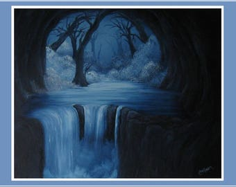 "Original 16x20"" Oil Painting - Winter Snowy Cave Waterfall Wall Art"