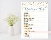 Children's Book Emoji Pictionary printable, Gold baby shower game, gold confetti, baby book, downloadable shower game, INSTANT DOWNLOAD 008