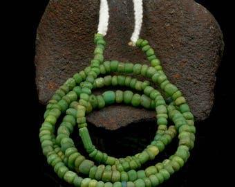 Rare ANCIENT Green Indo-Pacific Trade Glass Bead Strand 14.56 g 100 BC – 500 AD