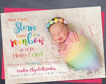Printable rainbow baby birth Announcement - 5x7 - after every storm - rainbow baby