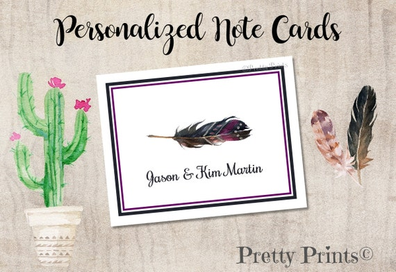 Boho Note Cards - Personalized - Note Cards - Feather Note Cards, Notecards, Custom Note Cards, Thank You Notes - Personal Stationery