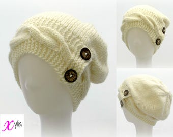 Cream Knitted Hat Button Band Hat Cable Band Slouchy Hat Adult Size Hand Knitted Hat Chunky Knit Hat Alpaca Wool Acrylic