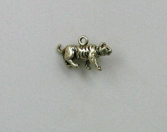 Sterling Silver 3-D Tiger Charm