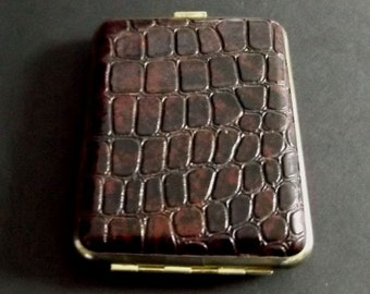 Vintage Embossed Maroon Leather Cigarette Case or Credit Card Case Made in Hong Kong Mid Century Wallet for Him