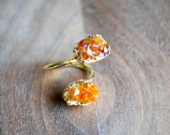 Citrine Ring. Raw Citrine Ring. Natural Citrine Ring. Adjustable Ring. Dual Ring. Statement. Double Ring. Citrine Druzy Ring. Spiral Ring.