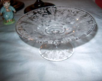 Vintage Etched Glass Compote Small