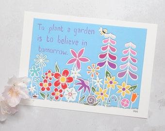To Plant a Garden is to Dream of Tomorrow fine art print – colourful flower art – rainbow flowers – Audrey Hepburn quote art – nursery art