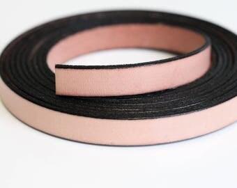 10mm flache Lederband. Made in Europa aus hochwertigen Leder-Lachs, 20 cm (0,182 Yards)