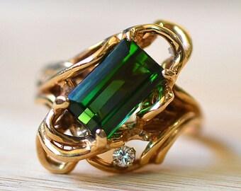 Emerald Cut Green Tourmaline Ring - 2.62 Carat Green Tourmaline Engagement Ring - Tourmaline Diamond Engagement Ring - Estate Cocktail Ring