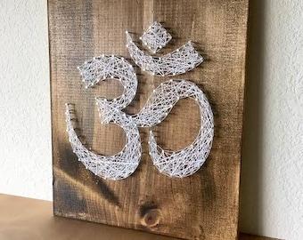 Om String Art, Om Wall Art, Om Art, Om Sign, Om Symbol, Yoga Art, Yoga Sign, Yoga Decor, Yoga Teacher, Yoga Studio