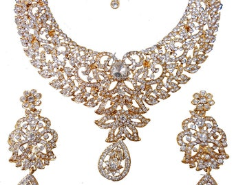 Gold/Silver rhinestone Statement Necklace crystal Statement Necklace Bridal Jewelry wedding necklace