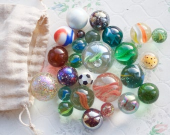 Colorful Glass Marbles in linen Pouch - Set of 26