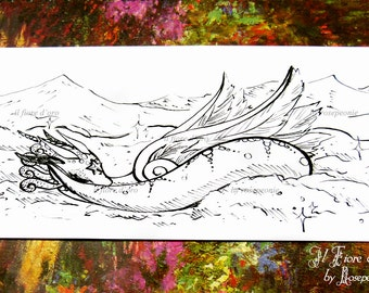 Dragon illustration - Ice Dragon sleeping on the snow. Original Haiku ink drawing on high quality paper, Italy art OOAK wiinter holidays