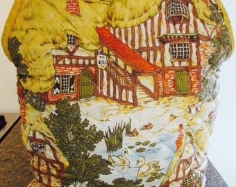 Vintage 1960's Shopping Bag With Double Lucite Handles - Quaint Cottage Scenes On Both Sides - One Of A Kind!!