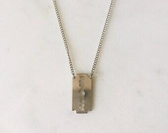 90's Vintage Silver Mini Razor Blade Necklace 18 inches Dead Stock