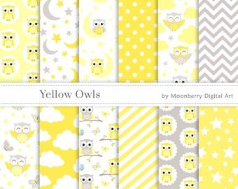Owl Digital Paper, Baby Girl Boy, Birthday Digital Papers, Invitation, Scrapbook Paper, Baby Shower Digital Paper. Owls Digital Paper. ODP
