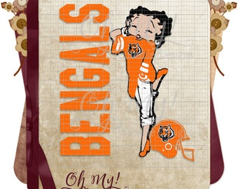 Bengals Inspired Betty Boop Layered Svg Eps Dxf Png Cutting Files