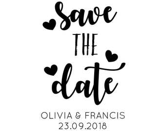 """SAVE THE DATE wedding stamp, invitation stamp, wedding stationery, card and tags stamp, diy bride stamp, announcement stamp,  2""""x3"""" (cstd93)"""