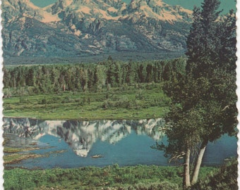 Grand Tetons and Blacktail Pond, 1 Used Postcard, Grand Teton National Park, Wyoming, 1980, fair shape