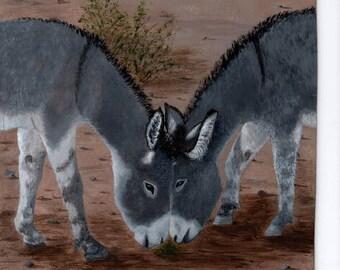 Two Donkeys, Original Painting