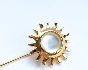 Gold Sun Stick Pin - Gold Sunburst Stick Pin - Gold Sun Brooch