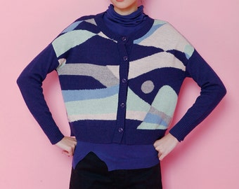 Fine Art Collection blue color fusion sweater top
