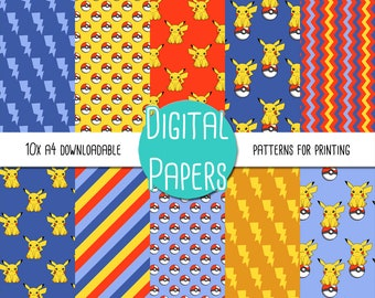 Pikachu, Pokemon Themed A4 Digital Paper - Instant Download for Printing and Scrapbooking