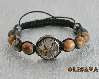 Mens  Steampunk bracelet of  Multicolor Picasso Jasper Beads and vintage watch movement ,  Shamballa , Clockwork Watch Movement bracelet