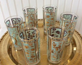 Vintage Aqua/Gold Weighted Tumblers, Four Seasons Design , Set of 6, Mid Century Barware, Chinoiserie, Hollywood Regency