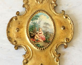 """Vintage Large 9.5"""" Florentine Italian Plaque, Cross, Gesso, Children, Landscape, Hollywood Regency, French Country, Statement Wall Decor"""