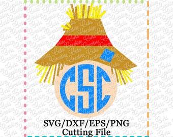 EXCLUSIVE SVG EPS dxf Scarecrow Monogram Cutting File, scarecrow cut file, scarecrow svg, fall svg autumn svg, scarecrow monogram cut file