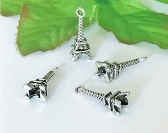 10pcs antique silver Eiffel Tower Charms Pendants Double Sided 21X8mm - BC38