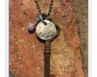 Antique Inspirational Skeleton Key Necklace - IMAGINE