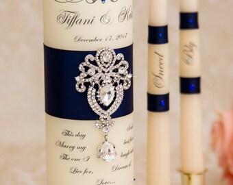 Navy Blue Unity Candle Set, Wedding Unity Candle Set, Personalized Ceremony Blue Unity Candles Set, Crystal Wedding Candle Set