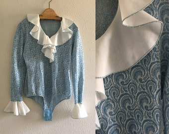 Vintage Ruffled Collar Blue Paisley Body Suit