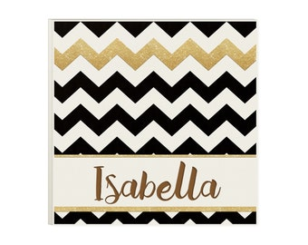 Christmas Gift for Teen Girl - Chevron Black & Gold Personalized Wood Sign