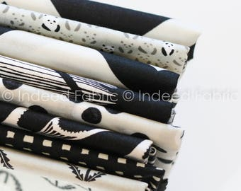 FAT QUARTER Bundle- Black and Whites, Cotton + Steel, Quilting Weight Cotton