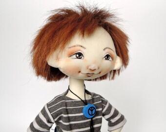 Boy Rag Doll-textile doll-doll boy-handmade rag doll-handmade cloth doll-fabric doll-ooak art doll-artist doll- collectors doll