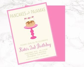 Pancakes and Pajamas Invitation-Printable-Invitation-any age-DIGITAL FILE-PRINTABLE