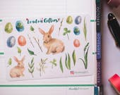 Easter bunny time - decorative watercolour planner stickers suitable for any planner -339-