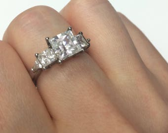Three Stone Sterling CZ Engagement Promise Ring