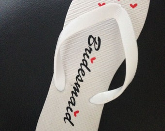 Personalised Wedding Flip Flops With Hearts - Many Colours & Designs