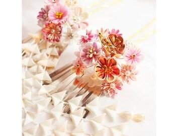 Kanzashi Wedding-pink Bridal Hair Accessories, floral pin- kanzashi flower, kanzashi flower pin, geisha hair stick, set of two