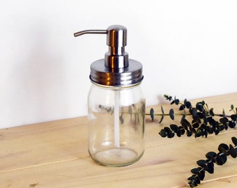 Rust Resistant Smooth Pint Size Mason Jar Soap Dispenser, Glass Jar, Farmhouse Kitchen Decor, Bathroom, Hand Soap, Rustic, Modern, Industria