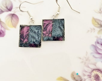 mosaic stained glass earrings, mulberry rose grey and gray black pearl van gogh mosaic glass tile