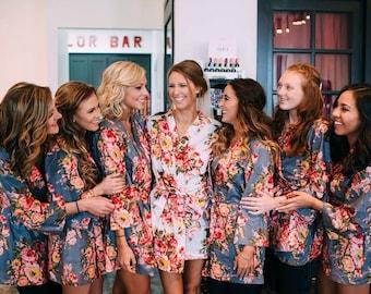 Bridesmaids robes, floral bridesmaids robes, cotton bridesmaids robes, kimono bridesmaids robes, bridesmaids robes gifts, flower girl robes