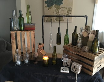 Repurposed 3 wine bottle candle holders