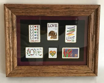 Collection USPS Love Edition Stamp Pins,Vintage Matted & Framed 6 Metal Postage Stamp Replicas, Home Accent,Collectible Pins, Wall/Shelf